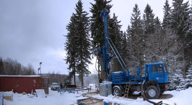 Exploratory drilling in the approved area of the Gottesberg (Dr Jörg Reichert, Deutsche Rohstoff AG).