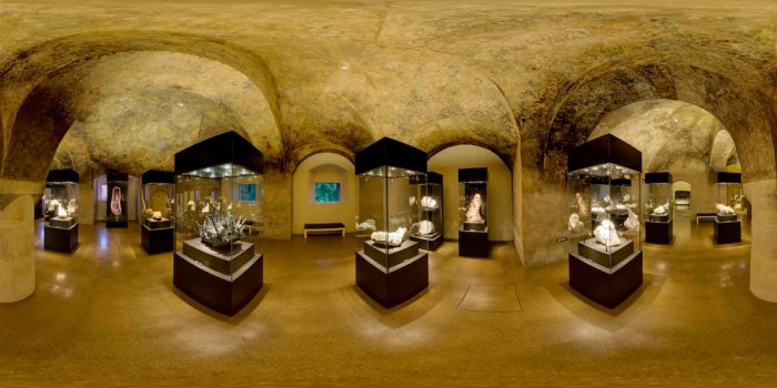 The trasure chamber - the heart of the collection with the most spectacular objects of the exhibition terra mineralia.