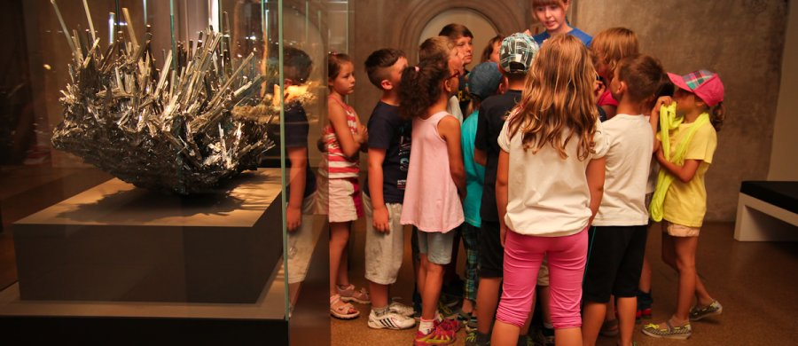"<span>Children during a guided tour called ""An expedition for little scientists"", here: in the Treasure Hall; Photo: Susanne Paskoff. </span>"